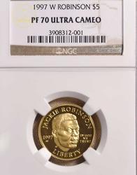 1997-W Jackie Robinson PF70 $5 Gold, NGC