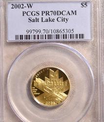 2002-W Salt Lake $5 Gold Commem PR70 PCGS