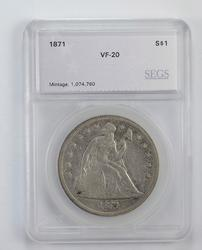VF20 1871 Seated Liberty Silver Dollar - Graded by SEGS