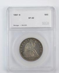 XF40 1867-S Seated Liberty Half Dollar - Graded by SEGS