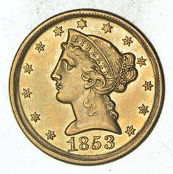 1853-D $5.00 Liberty Head Gold Half Eagle - Near Uncirculated