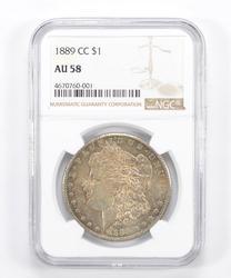 AU58 1889-CC Morgan Silver Dollar - Graded NGC
