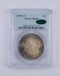 MS65 1878-CC CAC Morgan Silver Dollar - Toned! - Graded PCGS