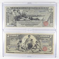 Lot (2) 1896 $1 & $2 Educational Silver Certificates Large Size Notes