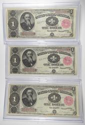 Lot (3) 1891 $1 Treasury Large Size Notes - Consecutive PH