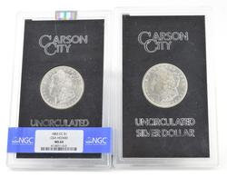 (2) MS-64 1883-CC & 1882-CC Morgan Silver Dollars - GSA Hoard - NGC