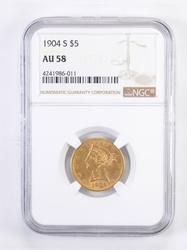 AU58 1904-S $5.00 Liberty Head Gold Half Eagle - Graded NGC
