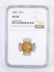 AU58 1887 $2.50 Liberty Head Gold Quarter Eagle - Graded NGC