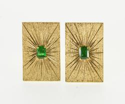 18K Yellow Gold 0.60 Ctw Emerald Burst Pitted Textured Cuff Links