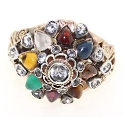 Thai Multi Gemstone Cluster Ring