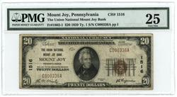Scarce 1929 $20 National Mount Joy, PA (1516) PMG-25