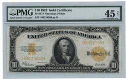 PMG Choice XF45 Series of 1922 $10 Gold Certificate