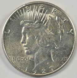 Lustrous nearly Choice BU 1927-S Peace Silver Dollar