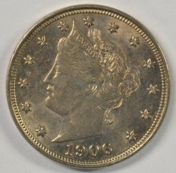 Lustrous BU 1906 Liberty 'V' Nickel