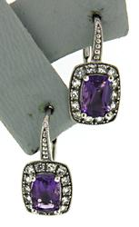 Pretty Amethyst and Diamond Earrings in 14kt