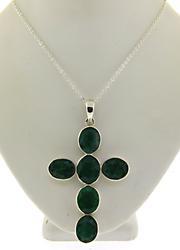 Bezel Set Treated Emerald Cross Necklace