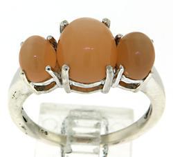 Peach 3 Stone Ring