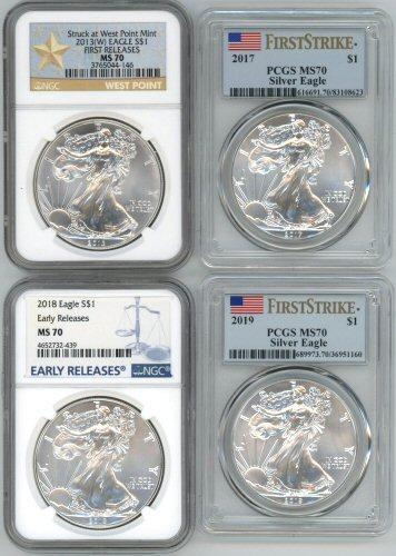 4 MS70 Graded $1 Silver Eagles. PCGS & NGC 2013-2019