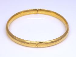 Gold Hinged Bangle with Etched Design, 6.5in
