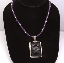 Beaded Purple Necklace & Flower Pendant