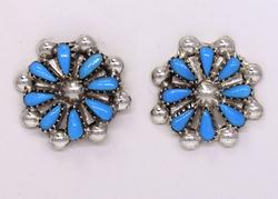 Sterling Silver Pettipoint Earrings, Zuni Crafted, New