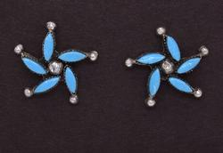 Needlepoint Turquoise Post Earrings, Zuni Crafted