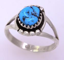 Free Form Kingman Turquoise Ring, Size 6.75, New