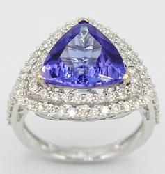 18kt White Gold +6ctw. Diamond and Tanzanite Ring