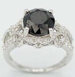 14kt White Gold Black and White Diamond Ring