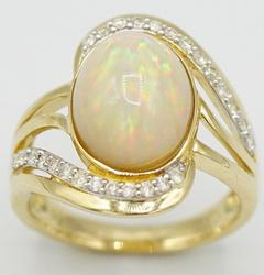 Breathtaking 14kt Yellow Gold Opal and Diamond Ring