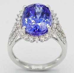 Platinum Diamond and Tanzanite Ring