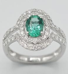 Platinum Emerald & Diamond Cocktail Ring