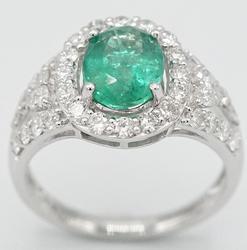 Emerald & Diamond Platinum Cocktail Ring