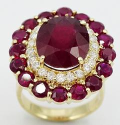 14kt Yellow Gold +13ctw. Diamond and Ruby Ring