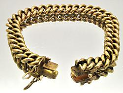 18 KT YELLOW GOLD HEAVY CURB LINK BRACELET