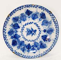 Vintage Blue Plate With Flower Design