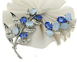 Sterling Silver Gemstone Brooch and Earrings Set