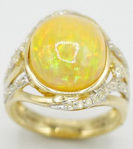 Massive 14kt Yellow Gold Diamond and +6ct. Opal Ring