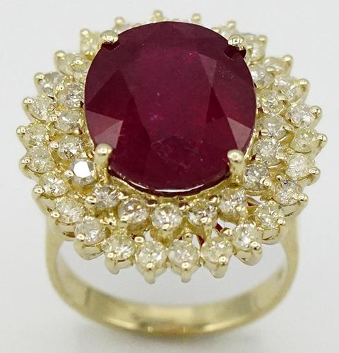 14kt Yellow Gold Ruby and Diamond Cocktail Ring