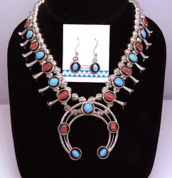 Magnificent Coral & Turquoise Squash Blossom Set