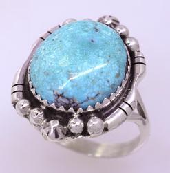 Kingman Turquoise Sterling Ring, Navajo Artist, Size 6.25