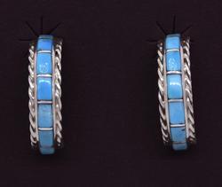 Turquoise Sterling Half Hoop Earrings, New