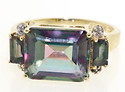 Pretty Mystic Topaz and Diamond Ring