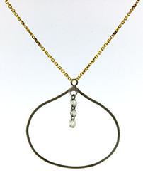 Nice 3 Stone Dangle Pendant Necklace