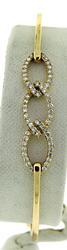 Pave Diamond Chain Design Bangle Bracelet