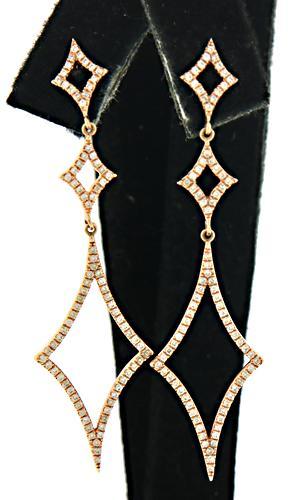 Wide Open Diamond Shaped Dangle Earrings