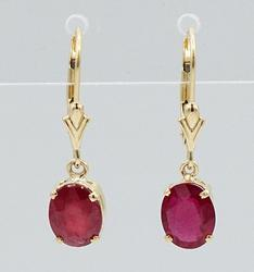 14kt Solid Yellow Gold Large 3.0 Carat Natural Ruby Earrings