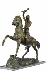 Scalp Bronze Sculpture Statue Art Nouveau Figure Marble