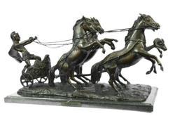 Majestic Warrior Coach Roman Style Bronze Sculpture