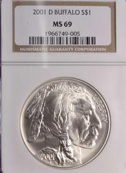 2001-D MS69 Buffalo Commem Silver Dollar, NGC